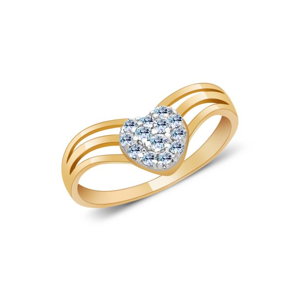 14K Yellow Solid Gold Heart Cubic Zirconia CZ Pave Ring - size 4