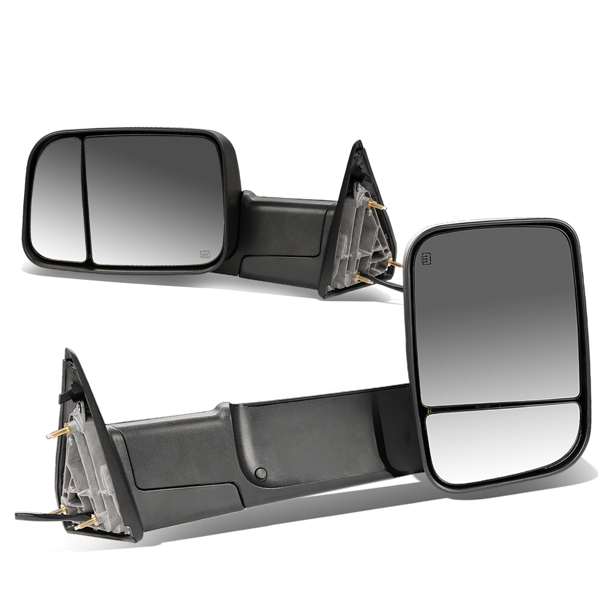 For 09-16 Ram 1500 / 2500 / 3500 / 4500 / 5500 Pair of Black Powered + Heated Glass + Foldable Side Towing Mirrors 14 15
