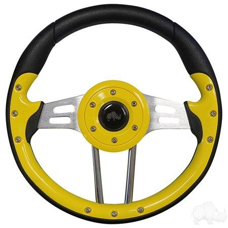 Golf Cart Aviator 4 Yellow Grip/Brushed Aluminum Steering Wheel
