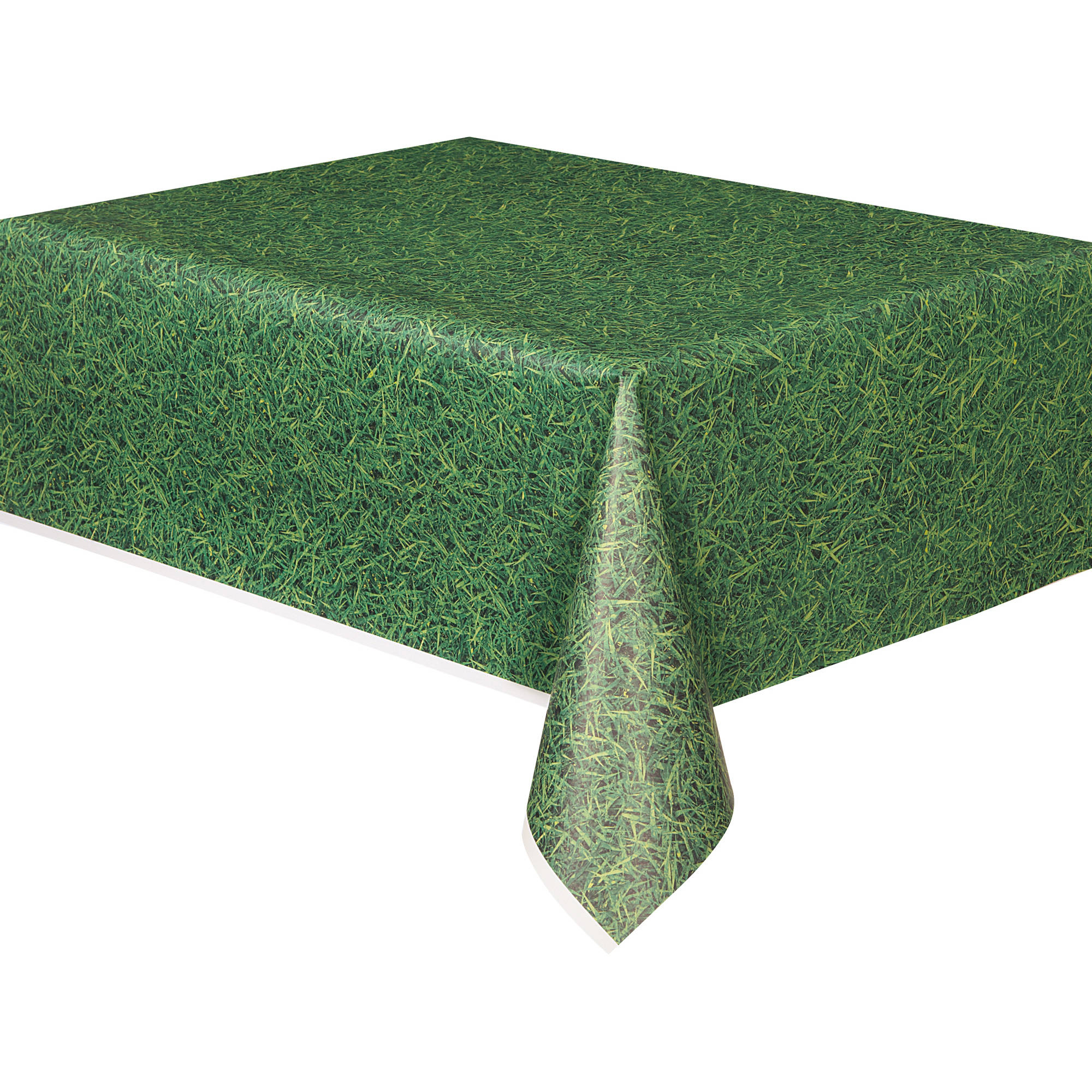 "Plastic Green Grass Printed Table Cover, 108"" x 54"""