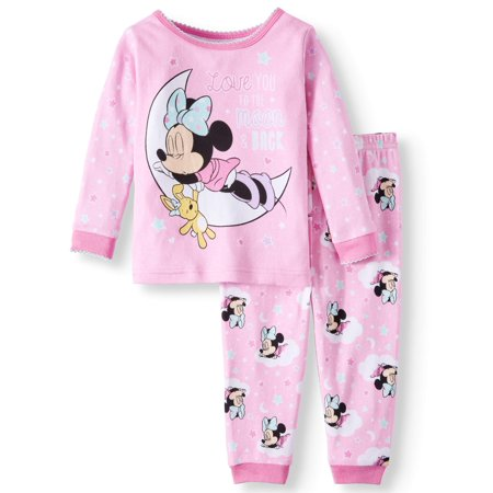 Minnie Mouse Baby Girls' Cotton Tight Fit Pajamas, 2-Piece Set - Baby Minnie Mouse Party Supplies