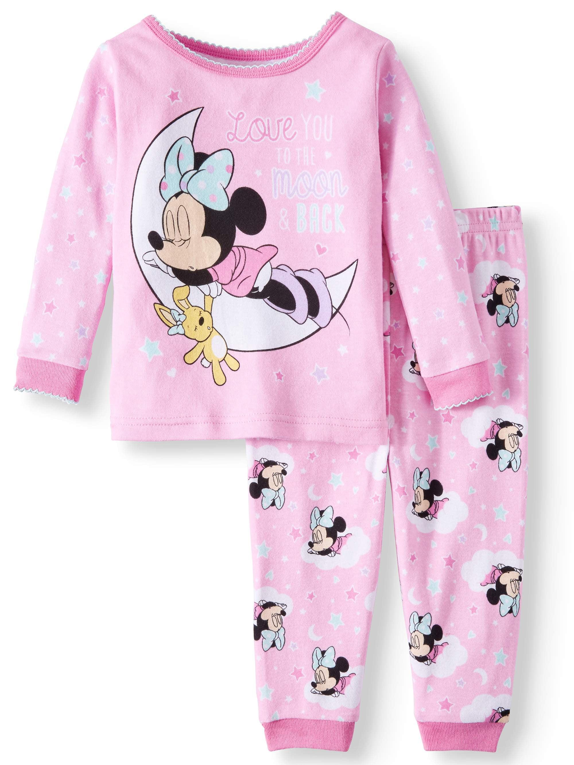 Minnie Mouse Baby Girls' Cotton Tight Fit Pajamas, 2-Piece Set