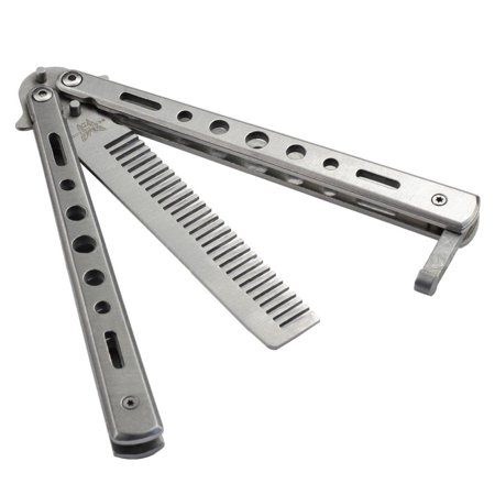 Stainless Steel Butterfly Balisong Comb Practice Trainer Knife Dull Tools ()
