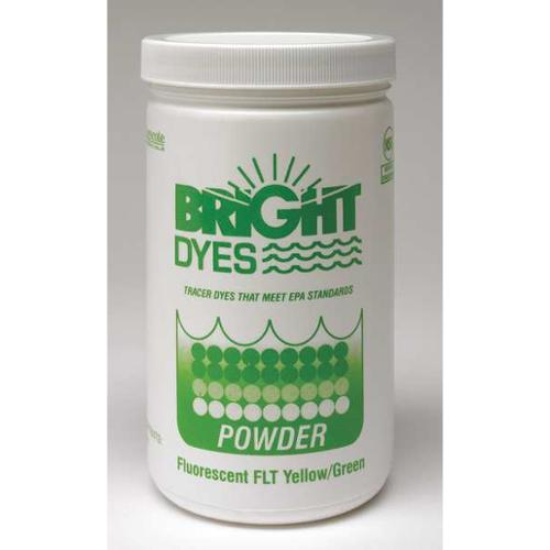 BRIGHT DYES 105001 Dye Tracer Powder,Flt Yellow/Green,1 lb