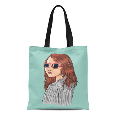 POGLIP Canvas Tote Bag Brown Adult Pretty Girl Wearing Sunglasses Looking Back Blue Durable Reusable Shopping Shoulder Grocery Bag - image 1 de 1