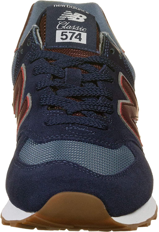 New Balance - New Balance 574 Trainers Men Blue/Bordeaux Low Top ...