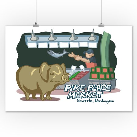 Seattle  Washington   Pike Place Market   Cartoon Icon   Lantern Press Artwork  9X12 Art Print  Wall Decor Travel Poster