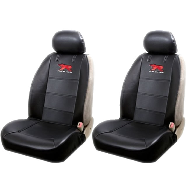 Official Licensed 2 Piece R Racing Synthetic Leather Sideless Seat Covers 2 Headrest Cover Car Truck SUV