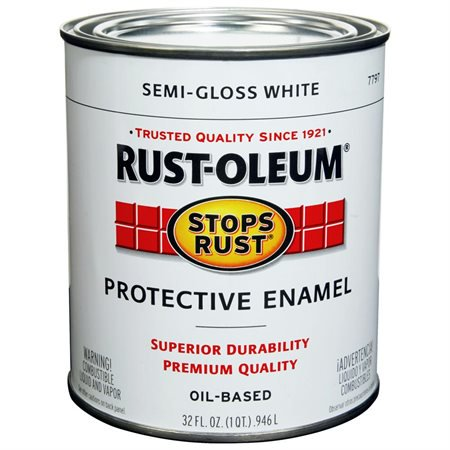 Rust Oleum Stops Rust Semi Gloss White Oil Based Protective Enamel 32 fl oz