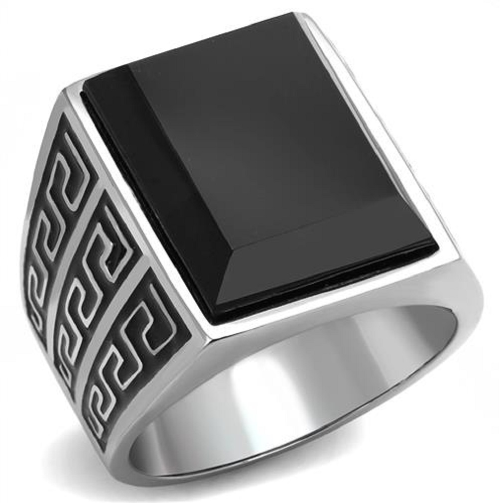 Men's New Stainless Steel Onyx Black Meander Greek Key Design Ring Sizes 8-13 by