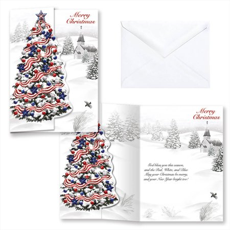 Tinkerbell Christmas Cards (Patriotic Tree Christmas Card Set of)