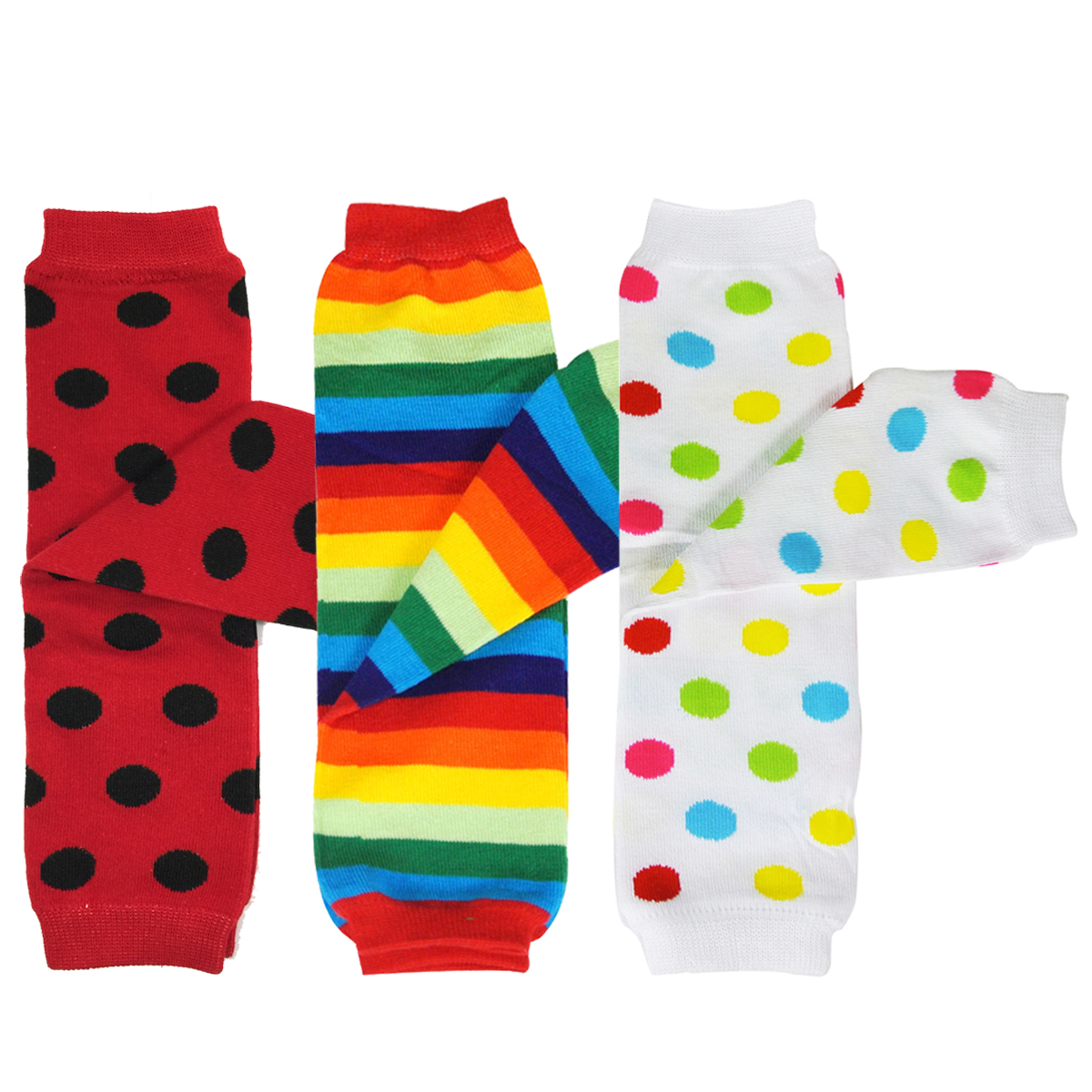 Wrapables® Baby 3-Pair Leg Warmers O/S Polka Dots and Rainbow Stripes
