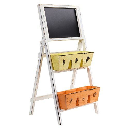 31 In. Farmhouse Multipurpose Bin and Chalkboard Stand