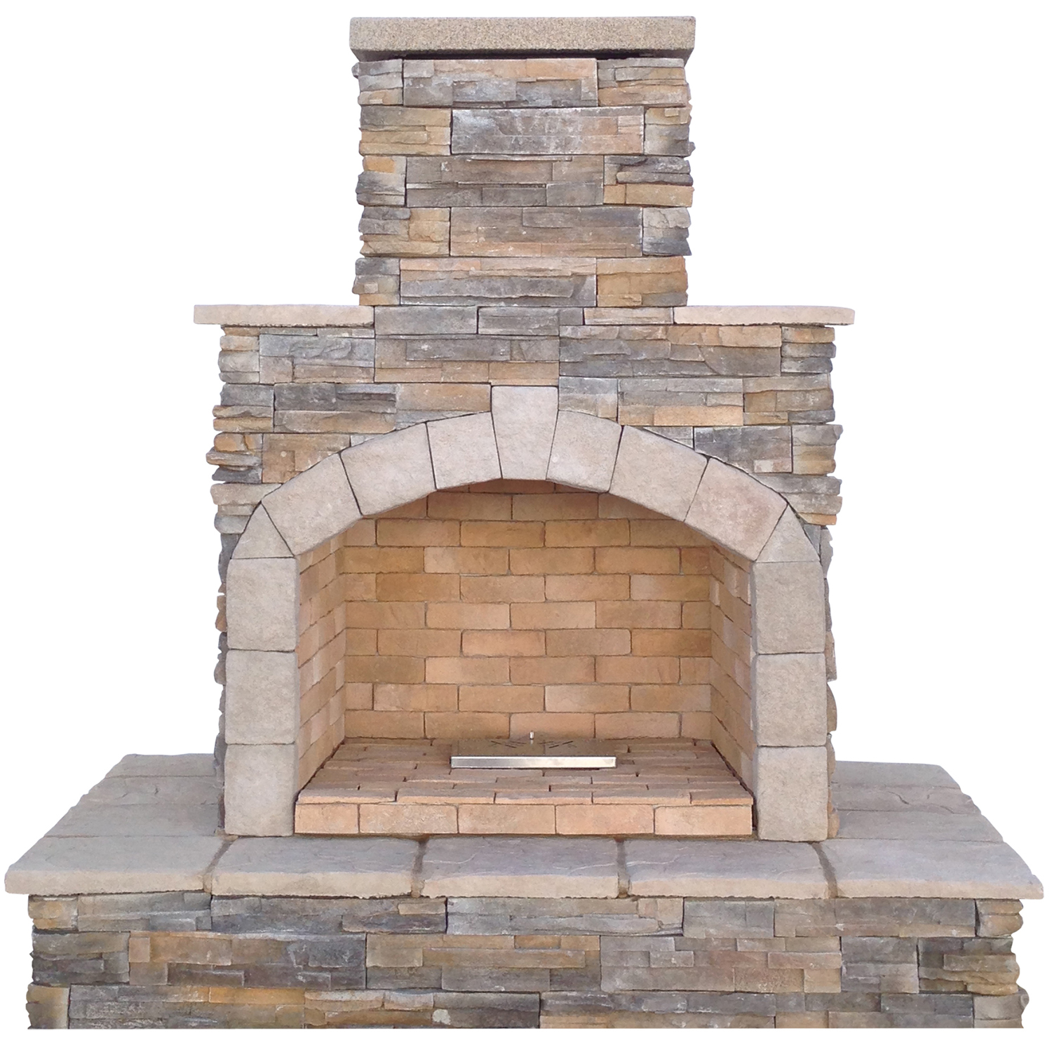 78 in. Brown Cultured Stone Propane Gas Outdoor Fireplace