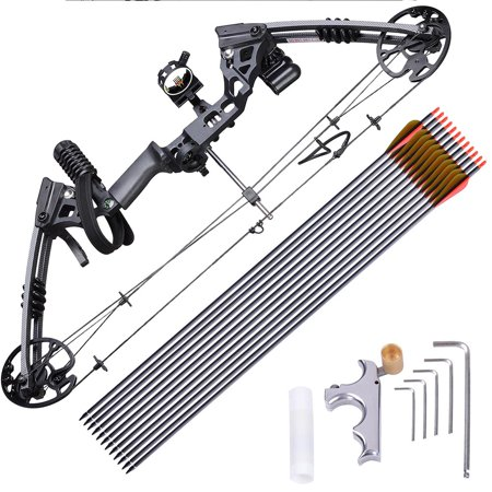 Archery Hunting Compound Bow Kit 20 to 70lbs Right Hand with 12pcs Carbon Arrows 320 fps thumbnail