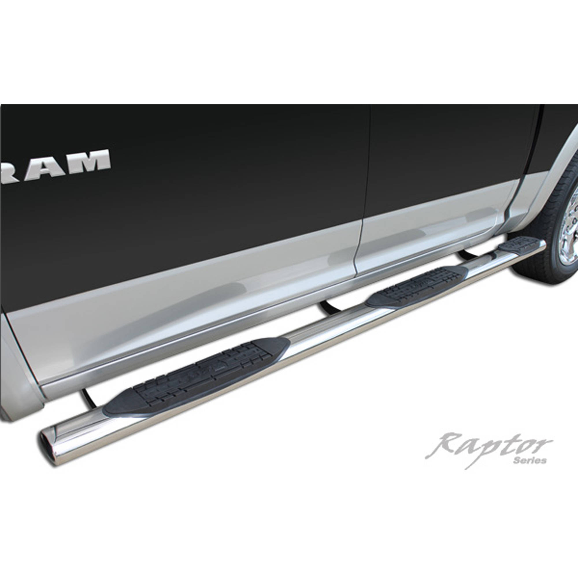 "Raptor Series 10-15 Dodge Ram 2500/3500 Crew Cab (6.4' Bed) withDEF Tank) 5"" W2W Oval Steps, Stainless Steel"