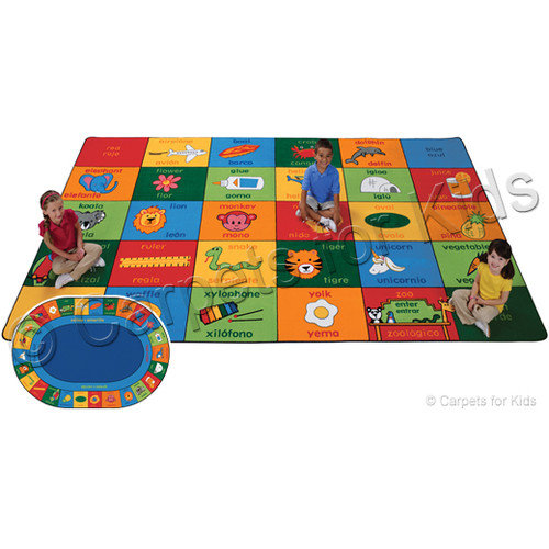 Carpets for Kids Printed Bilingual Alphabet Blocks Area Rug
