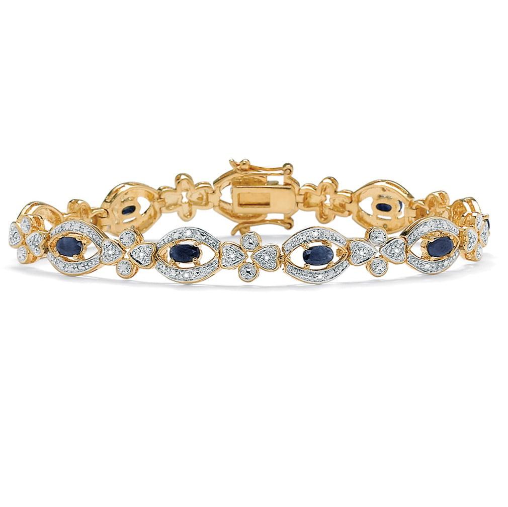 "3.26 TCW Genuine Midnight Blue Sapphire and Diamond 14k Yellow Gold-Plated Link Bracelet 7 1 4"" by PalmBeach Jewelry"