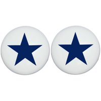Two Navy Blue and White Star Drawer Pull Knobs, Ceramic Dresser Cabinet Pulls, Children's Nursery Decor (Set of Two)