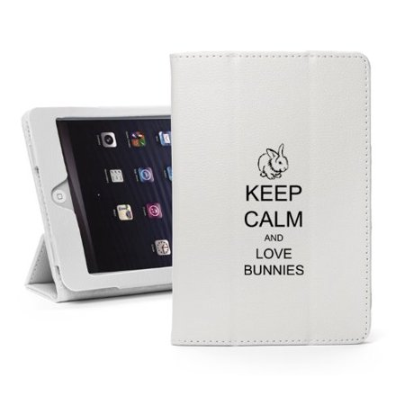 For Apple iPad Mini 4 White Leather Magnetic Smart Case Cover Keep Calm and Love Bunnies (Bunny Case Ipod 4)