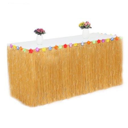 PP Artificial Grass Table Skirt Flower Inlaid Hawaiian Tropical Luau Party Tableware Decoration](Hawaiian Grass Skirts)