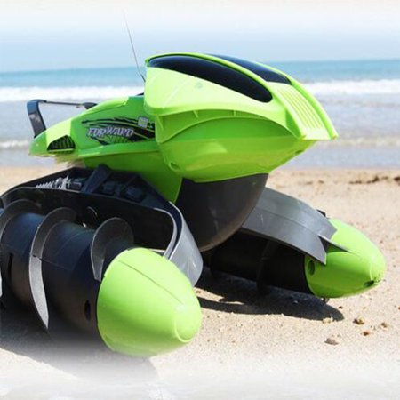 GoTechy Amphibian Vehicle - Land/Water Vehicle with RC Remote Control Tank Speed Boat Dual Motor -Green