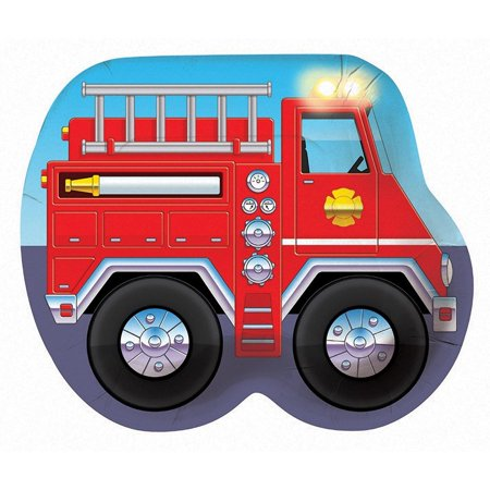 Fire Truck Lunch Plates 8ct, One package of 8 Firetruck shaped paper plates. By Creative Converting (Fire Truck Paper Plates)