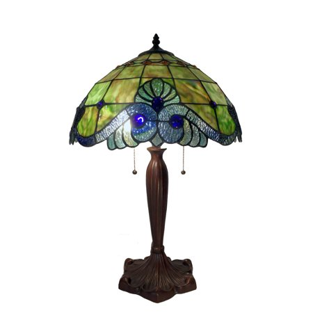 Tiffany Style Green Geometric Symmetry Table Lamp