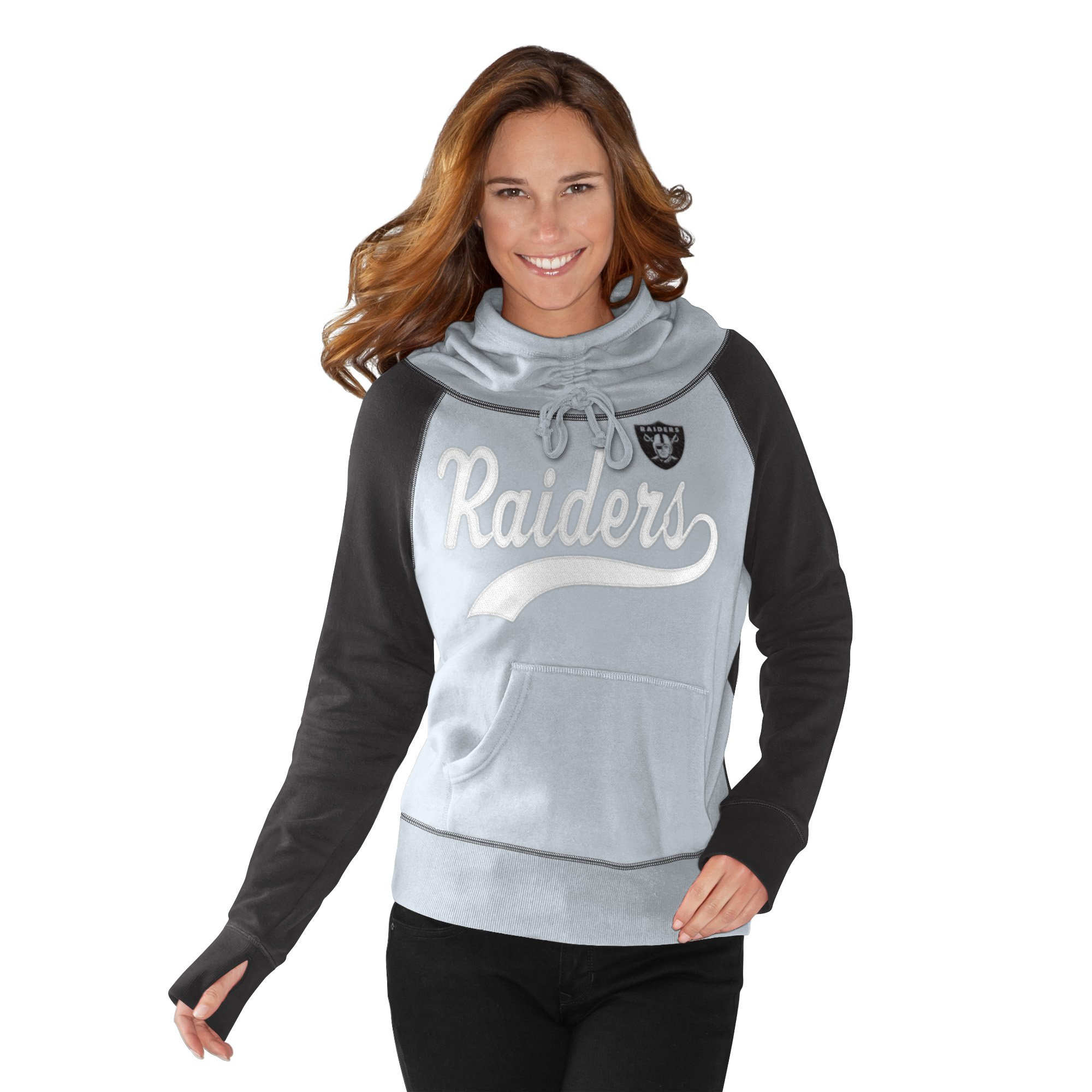 Oakland Raiders Black/Silver French Terry Funnel Neck Women's Pullover Hoodie