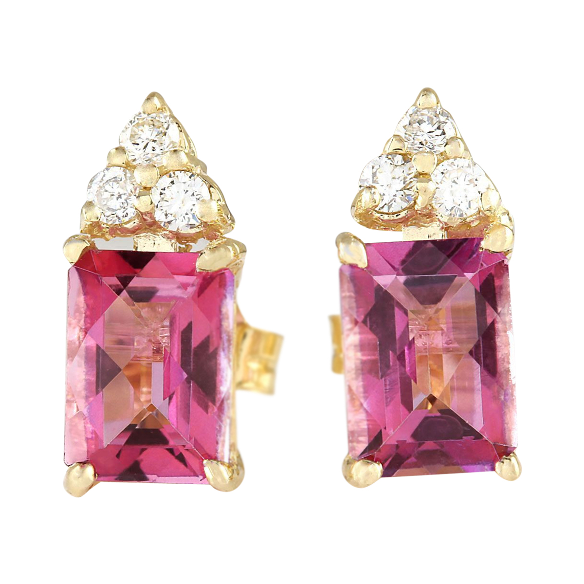 2.65 CTW Natural Pink Tourmaline And Diamond Earrings 14k Solid Yellow Gold by