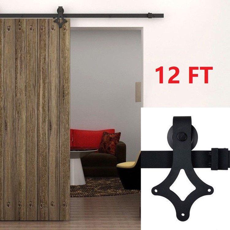 12 FT Sliding Door Hardware Kit Sliding Barn Door Hardware Kit Barn Door  Sliding Hardware Track