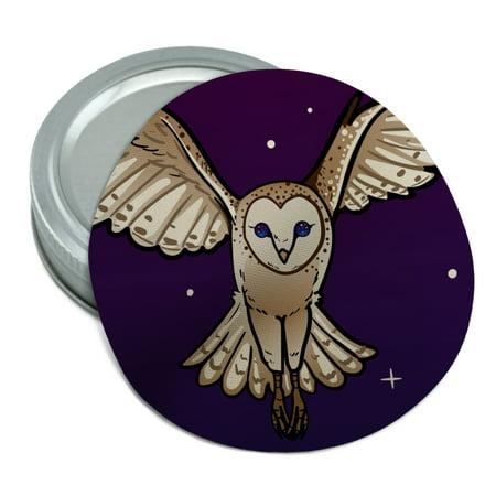 Barn Owl Flying in Night Sky Round Rubber Non-Slip Jar Gripper Lid Opener](Date Night Jar)