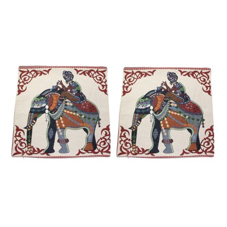Set of 2 Square Pillow Cases Cotton Linen Girl Riding Elephant with Tapestry 18