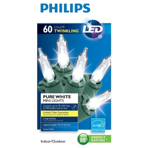 Philips 60 LED Pure White Mini Lights Green Wire Wedding Christmas Party NEW