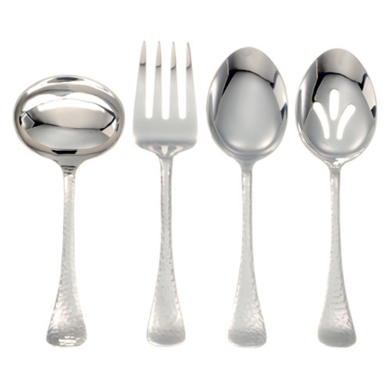Ginkgo Lafayette Stainless Hammered Finish Flatware Hostess Set - Set of 4