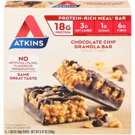 Atkins Chocolate Chip Granola Bar, 1.7oz, 5-pack (Meal Replacement)
