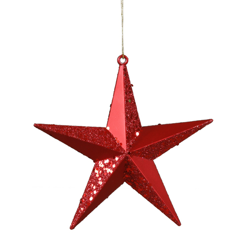 """Classical Red Matte with Alternating Glitter Christmas Star Ornament 8"""""""