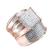 White Natural Diamond Engagement   Wedding Trio Bridal Ring Set In 10k Rose Gold (0.3 Cttw)