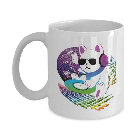 Cute Retro CAT DJ With Headphones, Sunglasses, CD Vinyl & Disco Ball Art Coffee & Tea Gift Mug, Party Favors, Giveaways, Supplies, Desk Décor, Accessories And Items For A Disc Jockey Or Deejay - Jockey Supplies