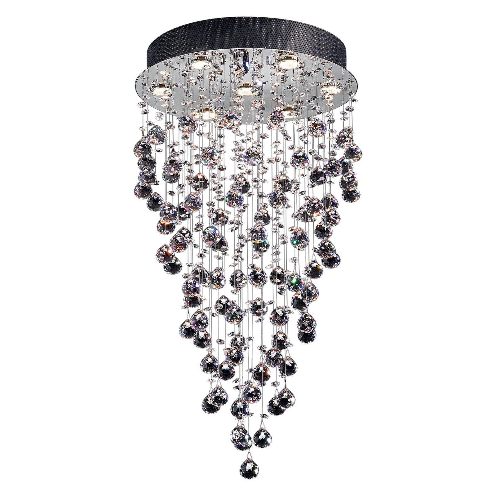 Girolamo 7 Light Chandelier, Chrome with Crystal Orbs and Rain Droplets by Lite Source Inc.