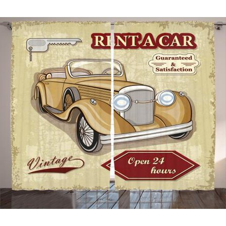 Vintage Curtains 2 Panels Set  Vintage Car Rentals Commercial Illustration Print With Keys Original Dated Auto Objects Design  Living Room Bedroom Decor  Tan Red  By Ambesonne