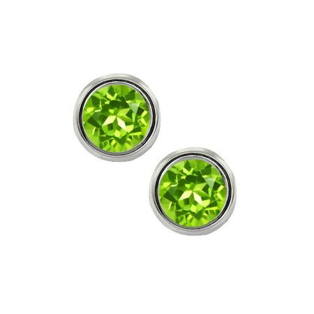2.00 Ct 6mm Round Cut Green Peridot 925 Sterling Silver Stud Earrings
