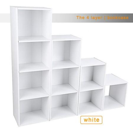 VBESTLIFE 3/4 Shelf Bookcase Storage Bookshelf Wood Furniture Adjustable Book Shelving ()