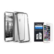 BasAcc Clear Crystal Hard Case Cover with Black TPU Bumper for Apple iPhone 8 Plus / iPhone 7 Plus (+ Clear Screen Protector)