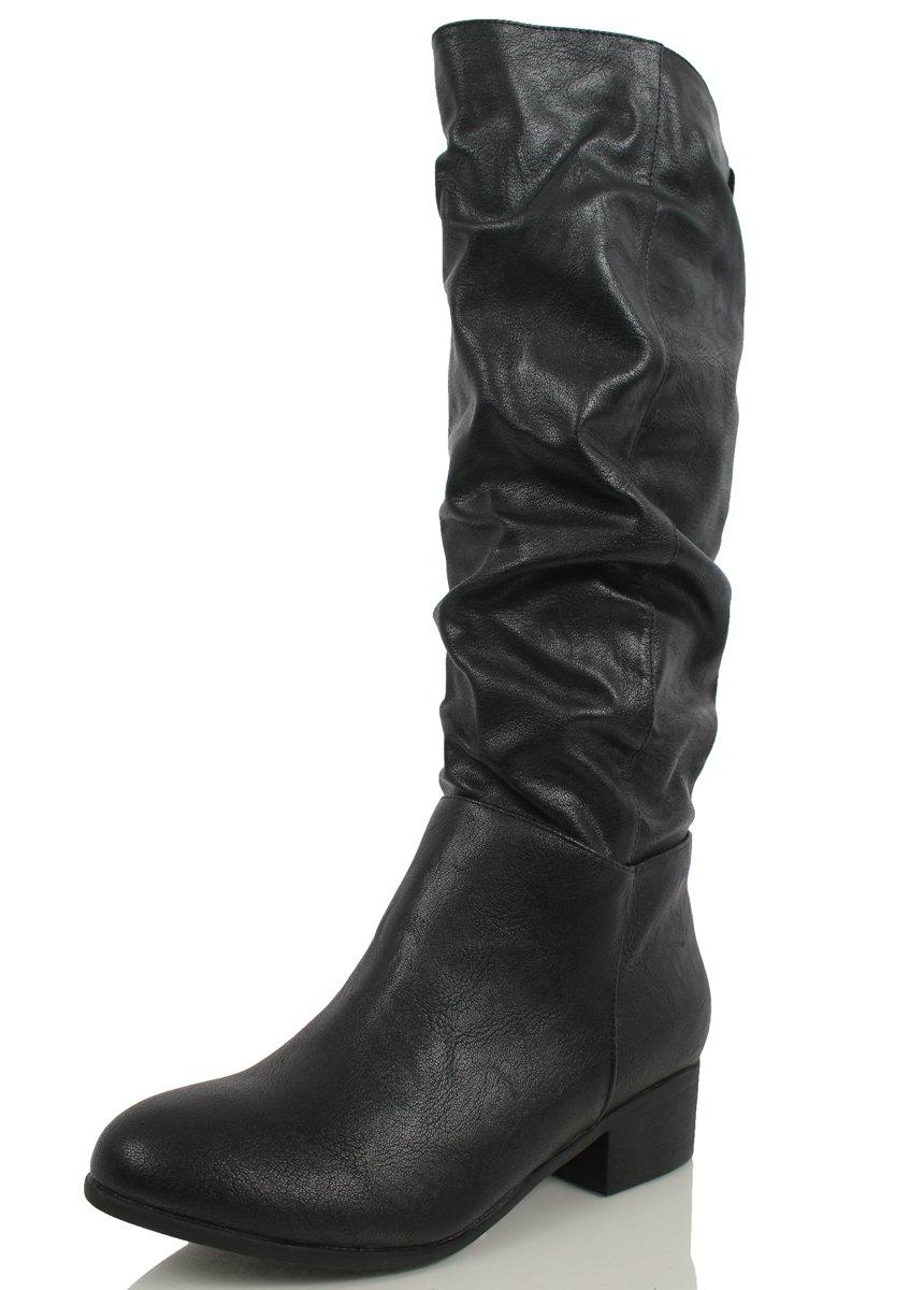 0403710a10 Soda Shoes - Soda Women's Index Faux Leather Slouchy Cowboy Knee High Low  Heel Boot (Dark Tan, 5.5 M) - Walmart.com