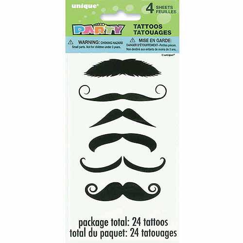 Mustache Tattoos, 4pk