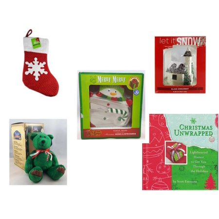 "Christmas Fun Gift Bundle [5 Piece] - Be Jolly Sparkle Stocking 19"" - Let It Snow Glass Ornament Church - Cracker Barrel Serveware Snowman Bowl & Spreader - Limited Treasures  Edition Green Candycan"