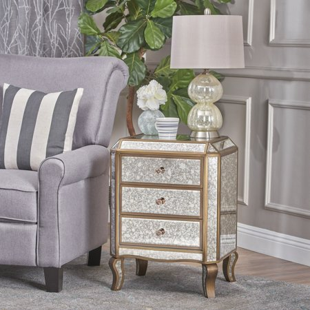 Christopher Knight Home Nicos Mirrored 3-Drawer Cabinet by ()
