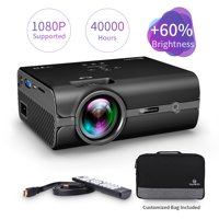 VANKYO Leisure 410 LED Projector with Carrying Bag and HDMI Cable, Portable Projector Supports 1080P, HDMI, USB, VGA, AV, SD Card, Compatible with Fire TV Stick, PS3/PS4, Xbox, Black