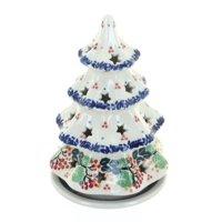 Polish Pottery Holly Small Christmas Tree Luminary
